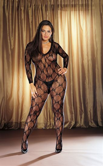 Dreamgirl Lace long sleeved bodystocking Sort Queen Size