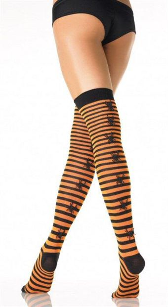 Leg Avenue Striped Stockings with Rubber Spider Back Seam (Halloween)
