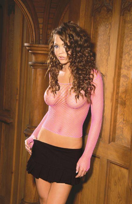 Elegant Moments Fence Net Longsleve Cami Top Pink