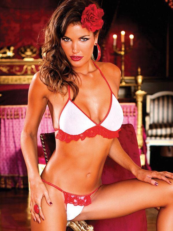 Baci Lingerie - Hvid-rødt bikini sæt med flæser