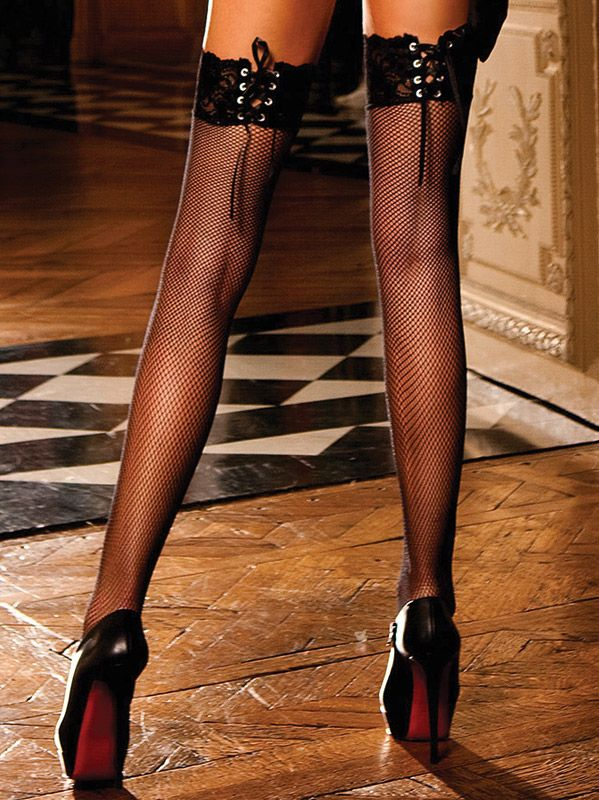 Baci Lingerie - Sorte blondestrømpebukser med korsetsnøring