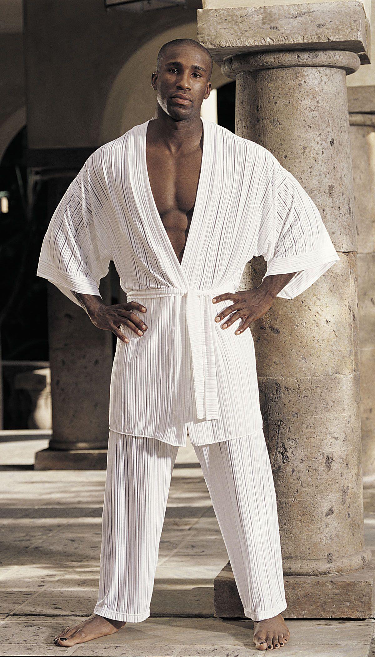 GyZ Stripe Spandex Kimono White One Size