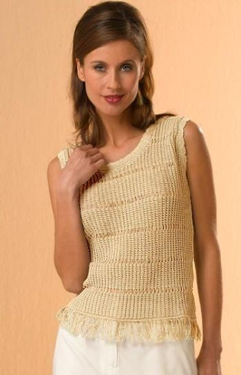 Knitted Top with Fringes, nature