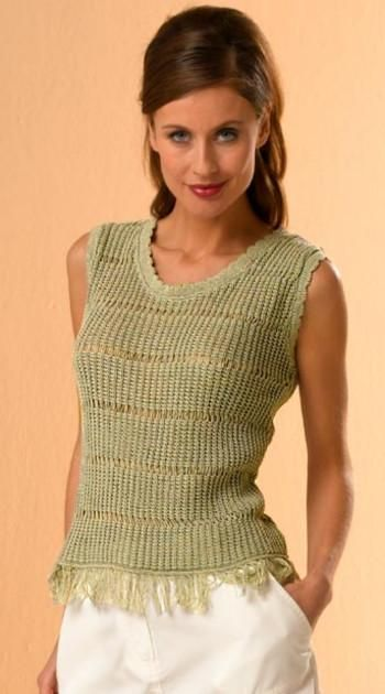 Knitted Top with Fringes, olive