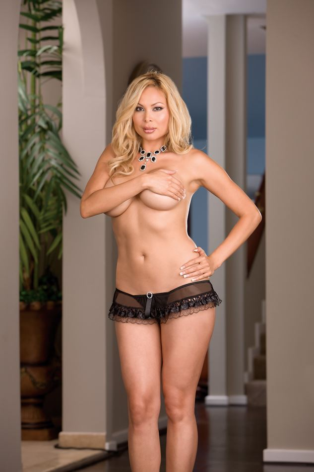 Dreamgirl - Sheer g-string with Ribbon and Lace trim 3X/4X