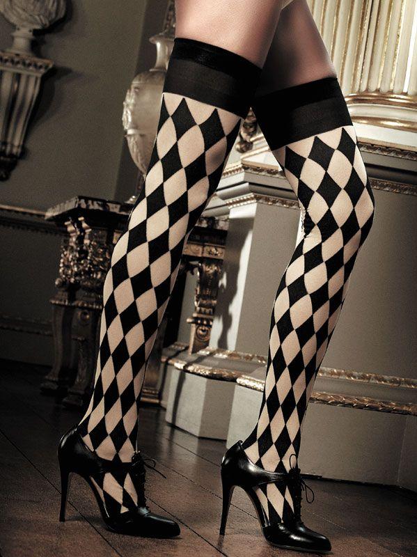 Baci Lingerie - Sort-champagnefarvede strømper i skakbræt-mønster