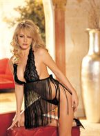 HOT Lingerie Stretch Lace and Fringe Baby Doll Black