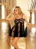 HOT Lingeri STRETCH LACE AND SHEER NET AND LACE PANELS BABY DOLL Black