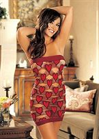 Open strappy net chemise with hearts Red/Black