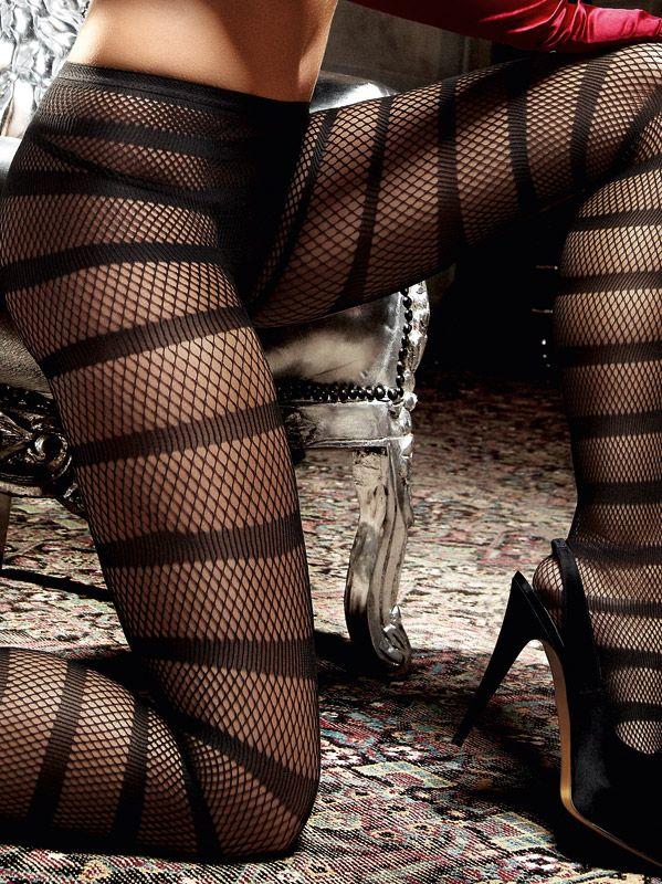 Baci Lingerie - Sorte strømpebukser med tværstriber