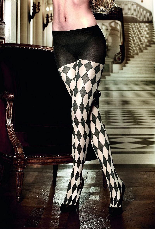 Baci Lingerie - Strømpebukser i sort-champagnefarvet skakbræt-mønster