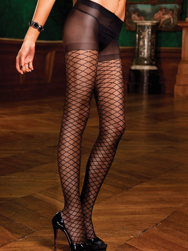 Baci Lingerie - Sorte jacquard strømpebukser