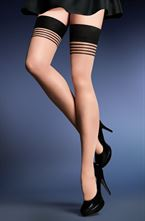 Gabriella Calze Gala 431 Stockings Hold Ups Sort / Elfenben