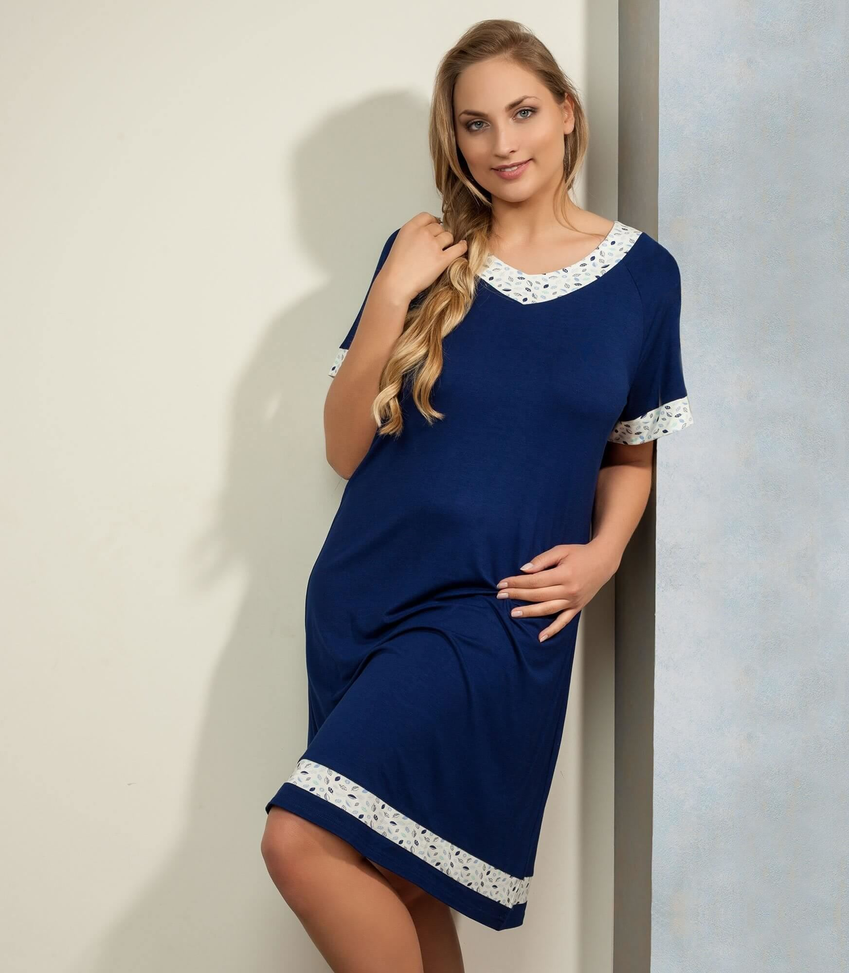 Plaisir  Bamboo Dark Blue F2906 Nightdress str. 42-50
