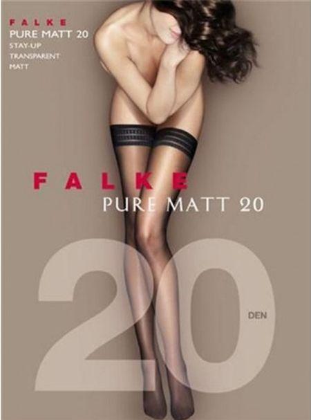 Falke Pure Matt 20 den Stay-up - --: Pudder - Powder, --: 10 1/2-11 ( sko str. 40-42)