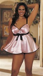 TUXEDO CHARMEUSE BABYDOLL Pink, Red or Ivory - 1X-3X