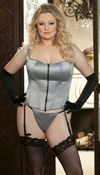 COTTON BLEND STRETCH SATIN CORSET SILVER