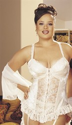 Shirley Satin Tapestry Flowered Jacquard Long-Line Bustier Ivory