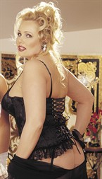 Shirley Satin Tapestry Flowered Jacquard Long-Line Bustier Black